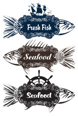three vector signs pointer to store the fish restaurant