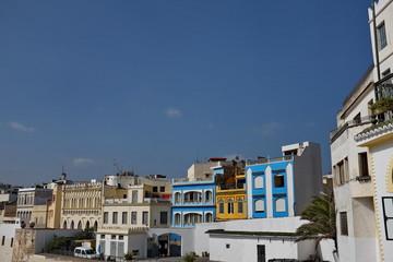 Façades de maisons, Tanger, Maroc