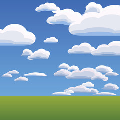 vector of the clouds on blue sky