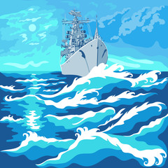 vector seascape with a warship