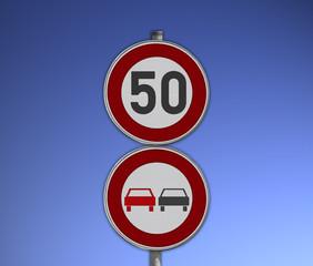 Verkehrsschild Überholverbot, Tempo 50
