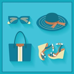 Women fashionable summer accessories icons set
