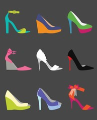 Unique fashionable colorful women shoes icons set