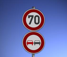 Verkehrsschild Überholverbot, Tempo 70