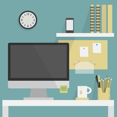 Close up of flat, modern, and stylish working place