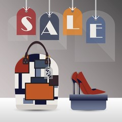 SALE hanging tags - with women purse and  high heels