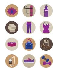 Flat women Yoga essentials icons set