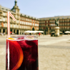 tinto de verano in Plaza Mayor in Madrid, Spain