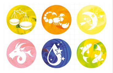 zodiac signs, watercolor