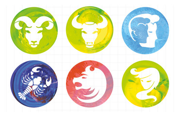 zodiac signs, watercolor