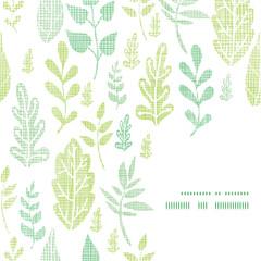 Textile textured spring leaves frame corner pattern background