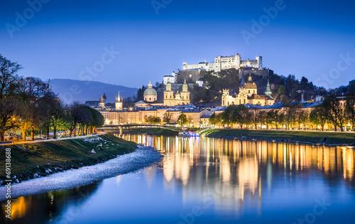 Foto op Canvas Praag Historic town of Salzburg at dusk, Austria