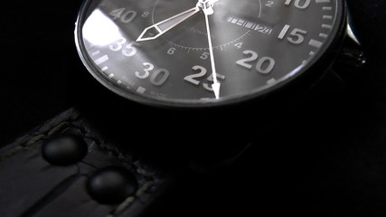 The video shows wristwatch with a second hand