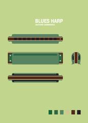 GREEN blues harp
