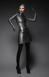 canvas print picture - Fashion shot of a woman in a silver suit