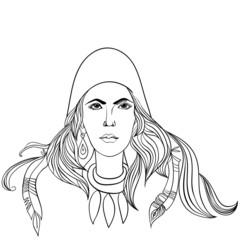 Зимняя девушка с роскошными волосами