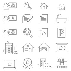 Vector Real Estate Outline Icons. Thin line style.