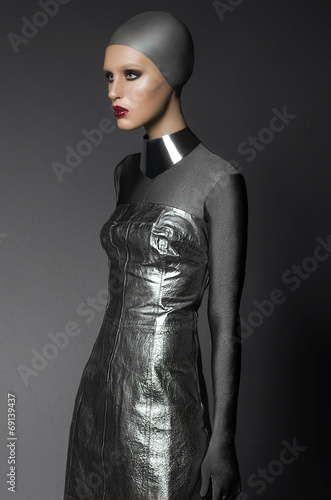 canvas print picture Fashion shot of a woman in a silver suit