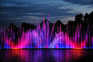 amazing dancing fountain in night illuminated red and blue color