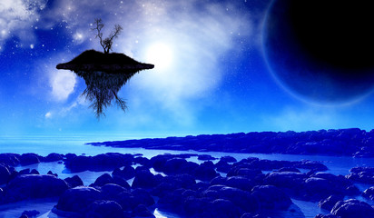3D space background with floating island in the sky