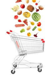 Products falling in shopping cart, isolated on white