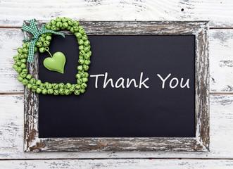 Thank you written on chalkboard, close-up