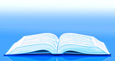 Open book on blue background
