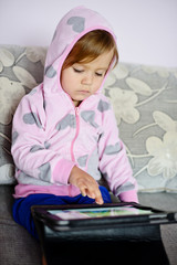 girl using tablet pc