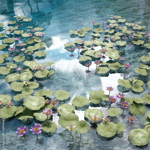 canvas print picture CGI of a Pond