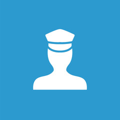 policeman icon, white on the blue background .