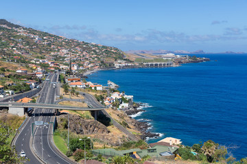 Island Madeira with Highway and view at the airport