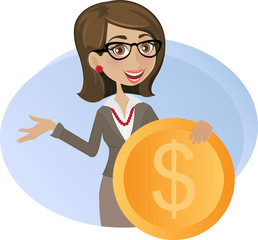 Business woman with dollar coin
