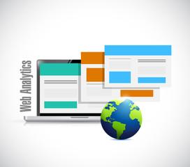 laptop browser web analytics globe illustration
