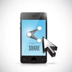 phone share cursor illustration design