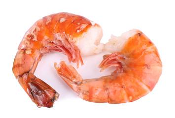 Fresh boiled prawns on white background isolated