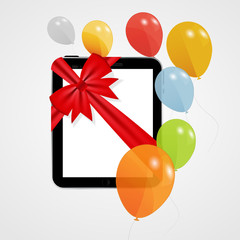 Digital Tablet Gift Vector Illustration with Balloons.