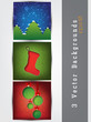 Set of cards with Christmas decorations