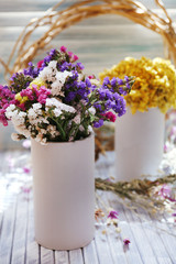 Beautiful flowers on table at home