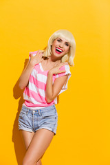 Carefree laughing blond woman