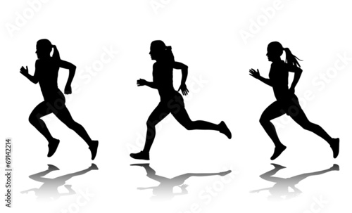 silhouette of female sprinter - vector - 69142214