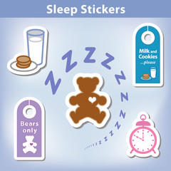 Sleep Stickers, Teddy bear, milk, cookies, clock, door hangers