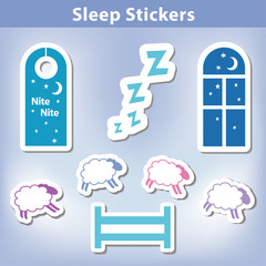 Sleep Stickers, dream, clouds, moon, stars, count sheep, fence