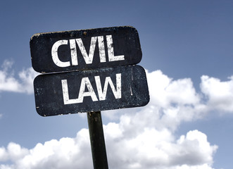 Civil Law sign with clouds and sky background