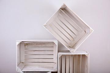 Empty wooden crates in room