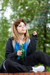 canvas print picture - Teenage girl drinking beer and smoking cigarette