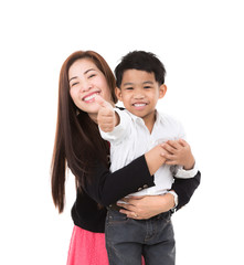 Portrait of happy boy with mother