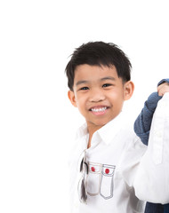 Portrait of happy little boy isolated on white background