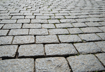 Old road paved with the cobble stones
