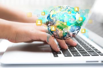 Closeup of business woman hand typing on laptop keyboard  (Eleme