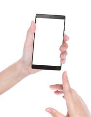 Closeup of female hand using a smart phone